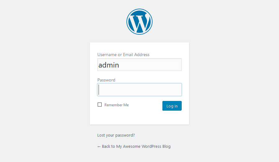 Logging into WordPress Dashboard